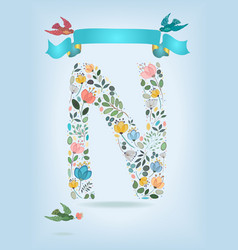 Floral letter n with blue ribbon and three doves vector