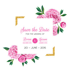 Floral wedding invitation save date card vector