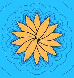flower sign sand color icon with black vector image