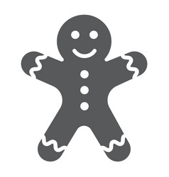 gingerbread man glyph icon christmas and sweet vector image