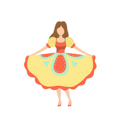 Girl in traditional colorful dress at brazil june vector