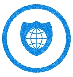 Global Shield Rounded Icon Rubber Stamp vector