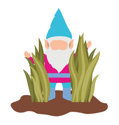 gnome without face coming out of the bushes on vector image