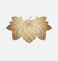 gold hop cone engrawing beer brewing vector image