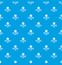 grill chicken pattern seamless blue vector image