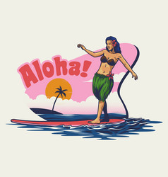 Hand drawing hawaiian girl surfing vector