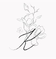 Handwritten line drawing floral logo monogram k vector