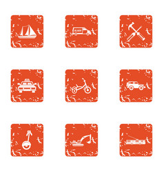 Heavy machinery icons set grunge style vector