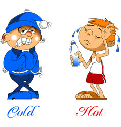 Hot and cold temperatures vector