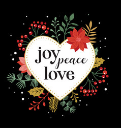 joy peace love merry christmas card with vector image
