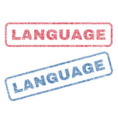 Language textile stamps vector