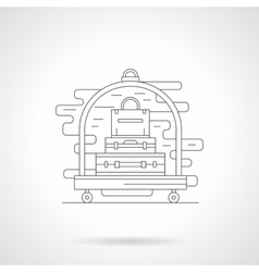 Luggage trolley detail line icon vector image