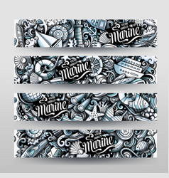 Marine hand drawn doodle banners design vector