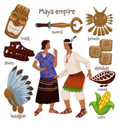 Maya empire people and personal belongings vector