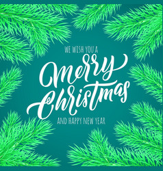 merry christmas calligraphy lettering greeting vector image