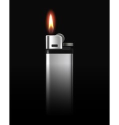 Metal Lighter with Flame on Black Background vector