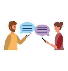 millennial smartphone chat conversation vector image