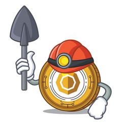 Miner komodo coin mascot cartoon vector