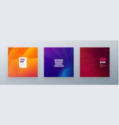 minimal square banner design colorful halftone vector image