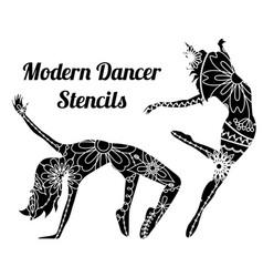 Modern dancer stencils vector