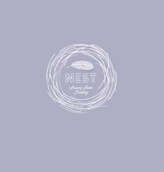 Nest soft luxury linen bedding emblem vector