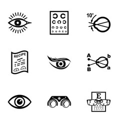 Oculist icons set simple style vector