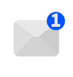 One new incoming message envelope icon vector