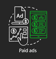Paid ads chalk concept icon online marketing vector