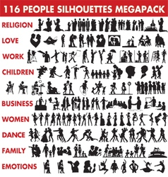 People silhouettes collection vector image
