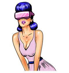 Pop art woman in vr goggles headset cartoon vector