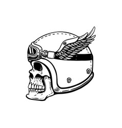racer skull in winged helmet isolated on white vector image