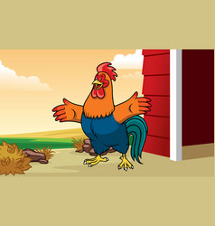 rooster in the farm with cartoon style vector image