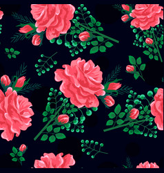 Rose seamless pattern dark-01 vector
