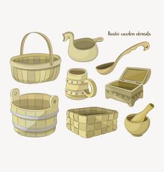 Rustic wooden utensils vector