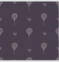 seamless heart air balloon pattern on dark hand vector image