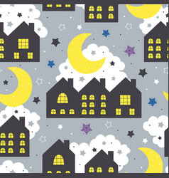 seamless pattern with night houses vector image