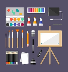 set art supplies art instruments for painting vector image