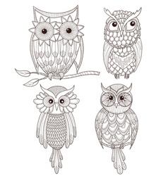 Set cute owls vector