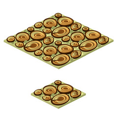 set floor tile with texture wood saw cut vector image