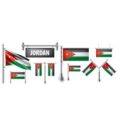 Set national flag jordan vector