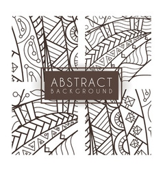 Set of four monochrome intricate patterns Doodle vector