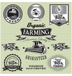set of labels on bread and combine harvester vector image