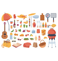 set picnic elements food and drinks bbq tools vector image
