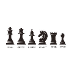 set silhouettes chess piece icons vector image