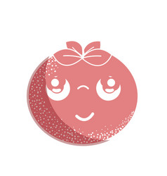 Silhouette kawaii nice thinking tomato vegetable vector