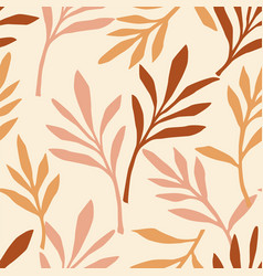 Simple seamless pattern with abstract leaves vector