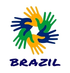 Six hand print logo using Brazil flag colors vector