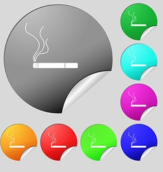 Smoking sign icon cigarette symbol set of eight vector