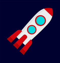 Space rocket icon flat style vector