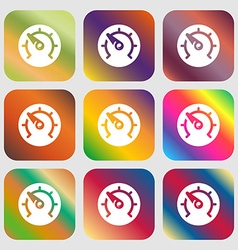 speed speedometer icon Nine buttons with bright vector image